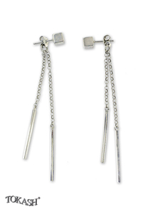 Silver earrings without stones - 110115