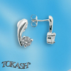 Silver earrings with CZ - 114067